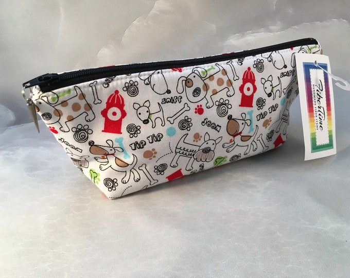 White Red and Black Doggie Make Up Bag