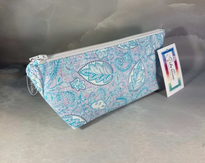 Blue and Gray Paisley Handcrafted Makeup Bag