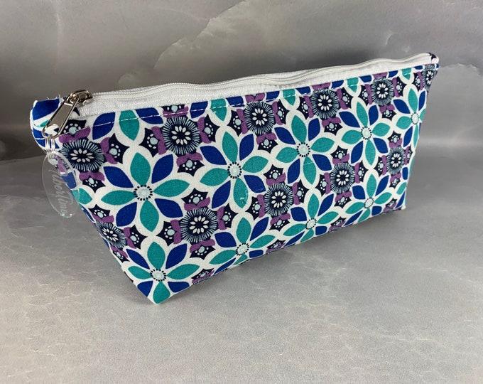 Aqua Navy & Purple Stylized Floral Triangle Pouch