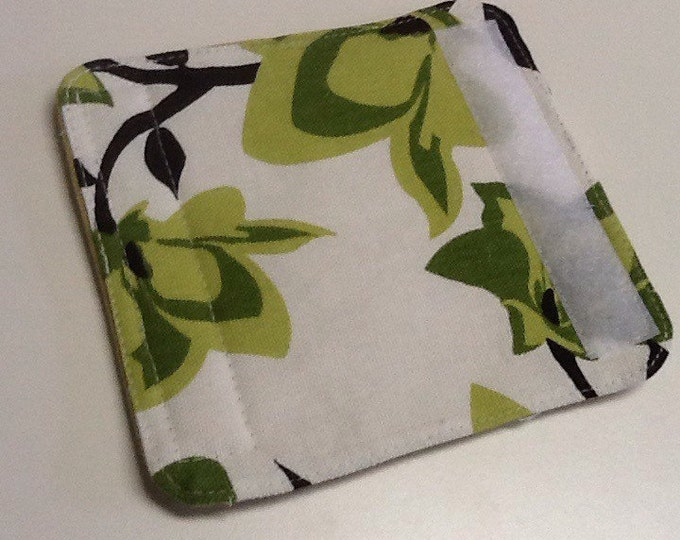 Dark And Medium Lime Green And Black Floral Luggage Handle Wrap