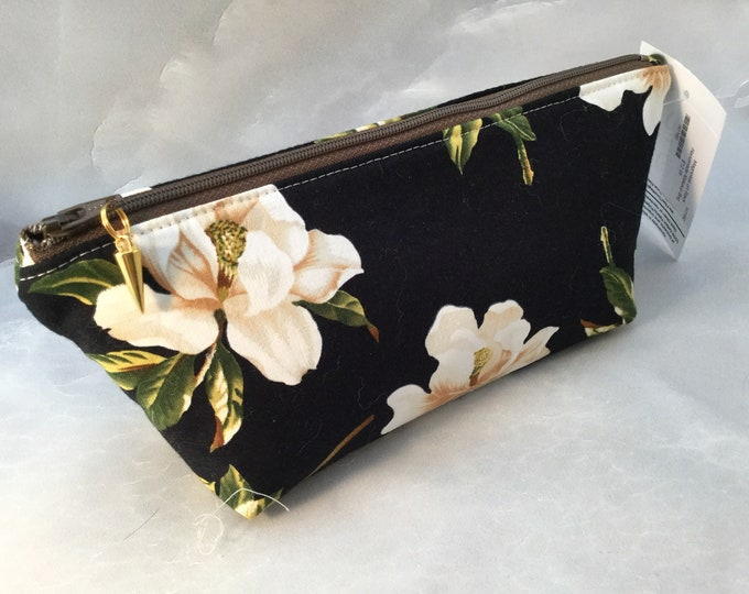 Magnolias on Black MakeUp Bag
