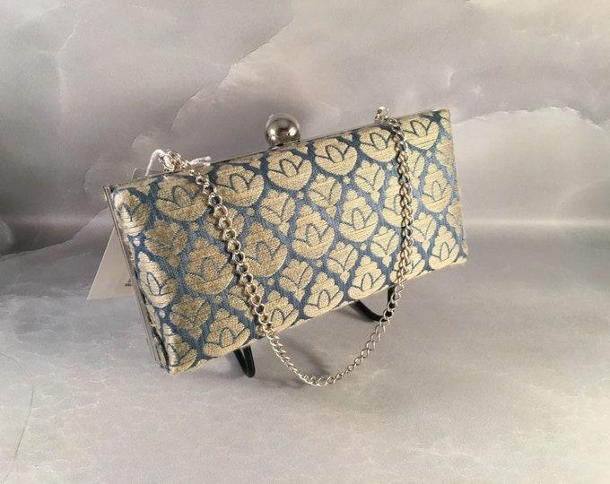 Blue and Beige Smalll Box Clutch Bag