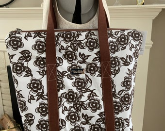 Brown Floral on White Large Top Zip Handmade Tote Bag