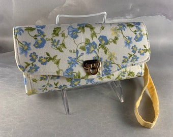 Handcrafted Blue and Yellow Morning Glories Clutch/Wallet With Wrist Strap