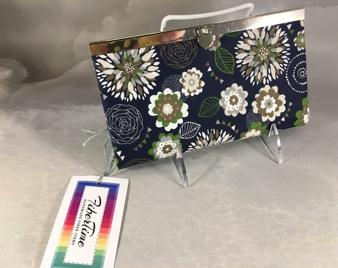 White Green Brown Floral On Navy Diva Wallet