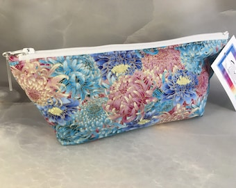 Gold and Pastel Floral Handcrafted Makeup Bag