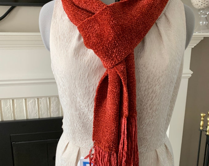 Handwoven Rust Rayon Chenille Scarf