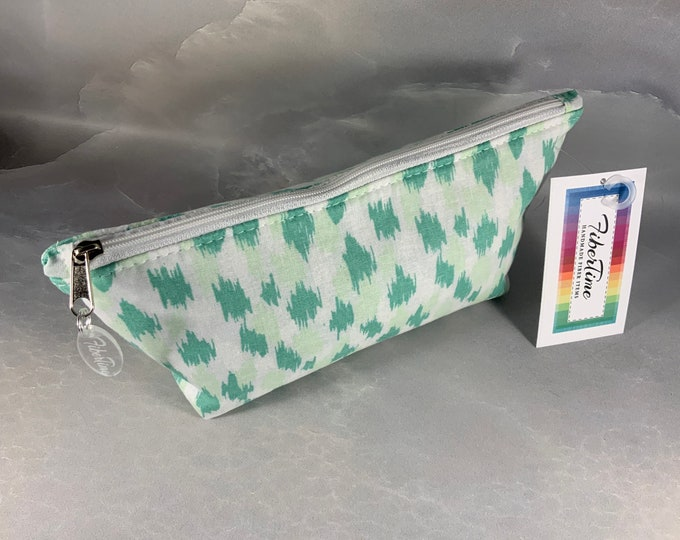 Green and White Splatter Triangle Pouch