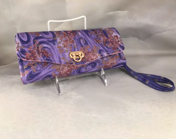 Purple Kimono Handmade Clutch/Wallet With Wrist Strap