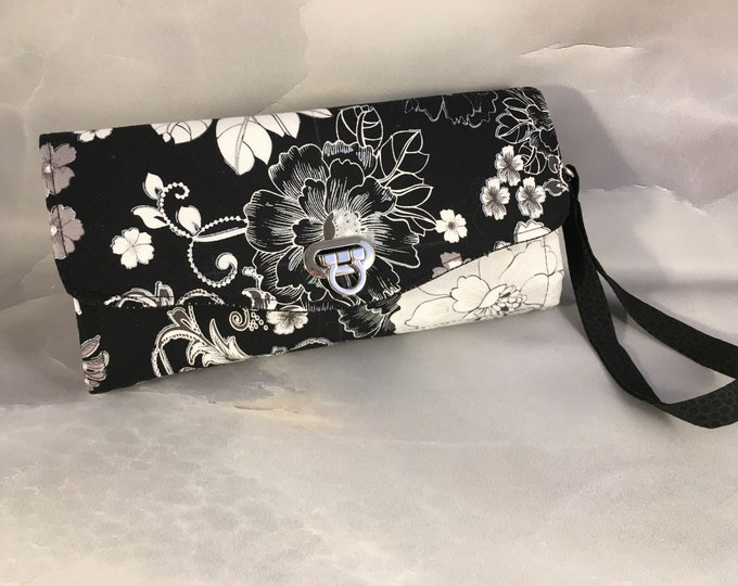 Handmade White and Silver Floral on Black Clutch/Wallet With Wrist Strap