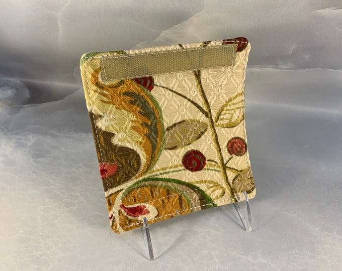 Beige Red Brown Floral Luggage Handle Wrap