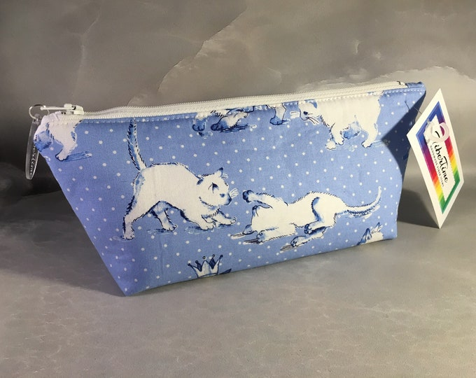 White Kitties On Blue Make Up Bag