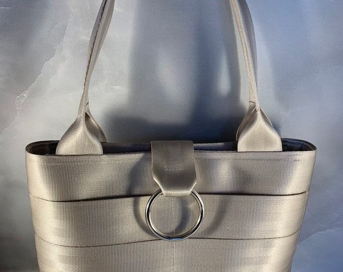 Handcrafted Seat Belt Bag/Tote In Silvery Gold