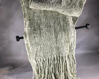 Handwoven Frost Green Rayon Chenille Scarf