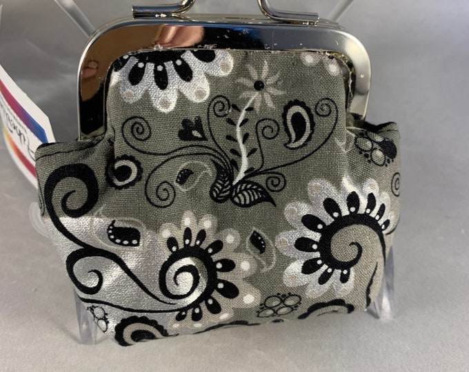 Silver and Black Floral Small Kiss Lock Change Purse