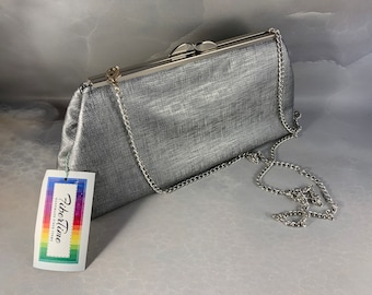 Last One!  Silver Vegan Faux Leather Large Clutch Bag