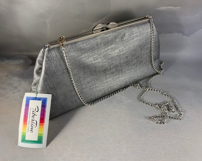 Silver Vegan Faux Leather Large Clutch Bag