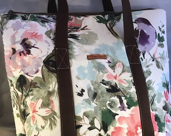 Birds and Flowers Large Top Zip Handmade Tote Bag - LAST ONE!