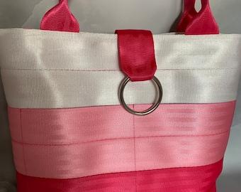 Handmade White/Bubble Gum/Hot Pants 3-Block Seat Belt Bag/Tote