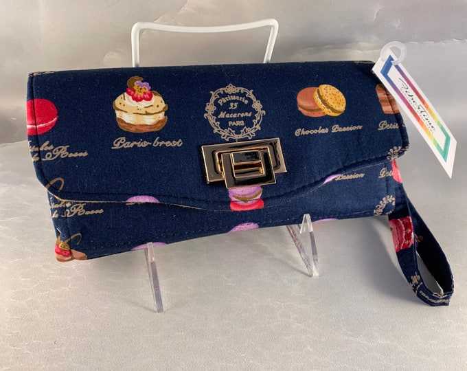 French Pastries on Navy Handcrafted Clutch/Wallet