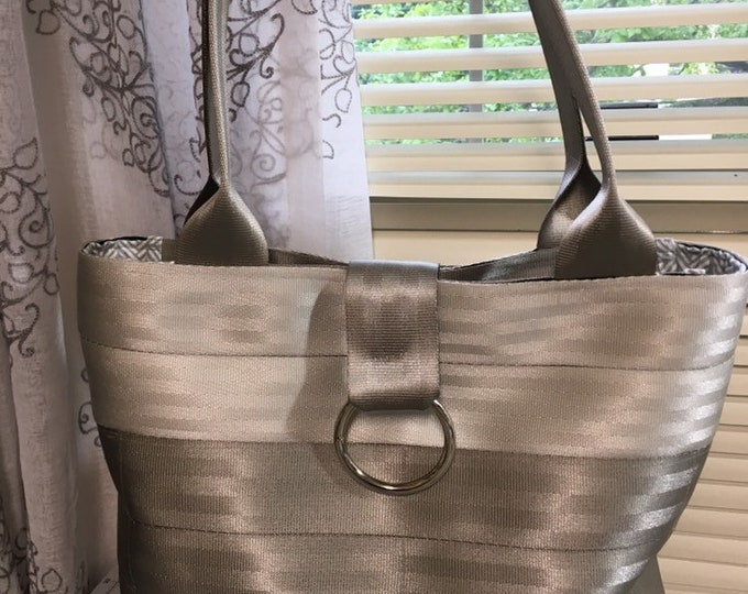 Handmade Silver And Gray 2 Block Seat Belt Bag/Tote