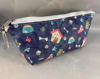 Dog House and Bones on Blue Triangle Pouch