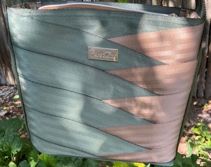 Tall Roundabout Crossbody Seat Belt Bag in Forest Green and Brown...