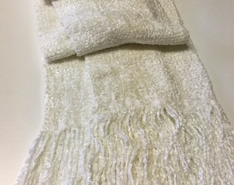 Handwoven Bulky Winter White Rayon Chenille Scarf