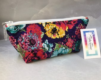 Bright Floral On Navy Handcrafted Triangle Pouch