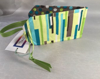 Handmade Bright Green/Gray Luggage Tag