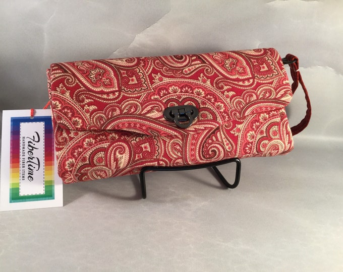 Cranberry Paisley Handmade Clutch/Wallet With Wrist Strap