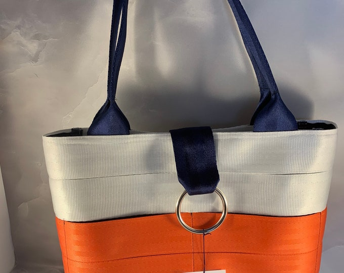Handmade White, Orange and Navy Seat Belt Bag/Tote
