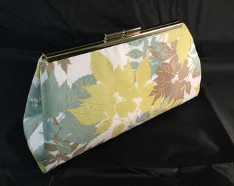 Green And Beige Leaves Medium Clutch Bag