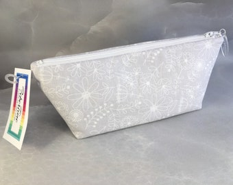 White on Gray Stylized Floral Handcrafted Make Up Bag