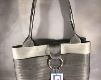 Handmade Silver and Gray Small Block Style Seat Belt Handbag