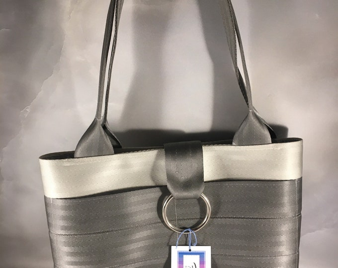 Handmade Silver and Gray Small Block Style Seat Belt Handbag
