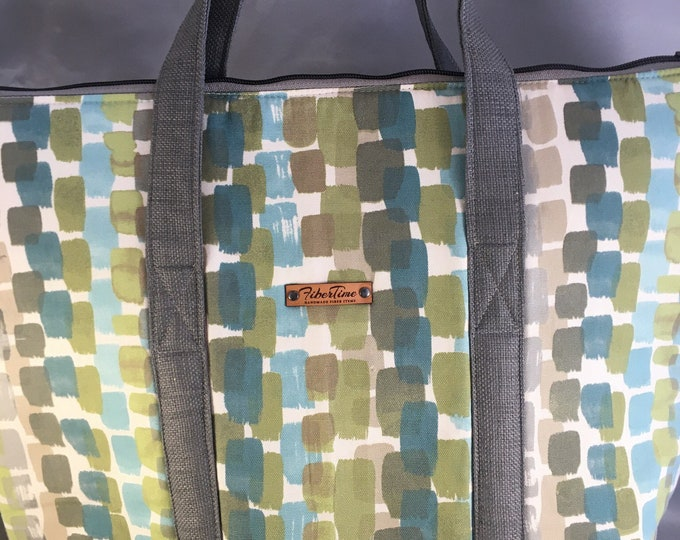 Gray and Green Cubes Large Top Zip Handmade Tote Bag - LAST ONE!