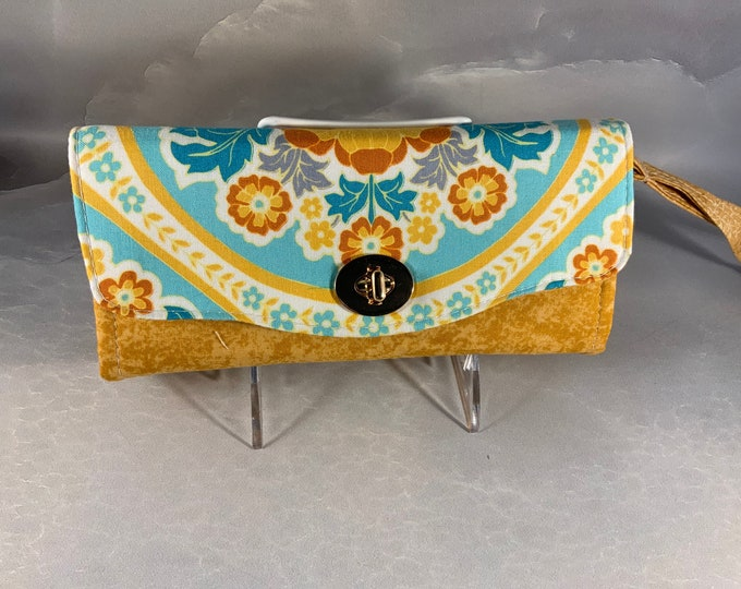 Aqua and Gold Jacobean Style Floral Handmade Clutch/Wallet With Wrist Strap