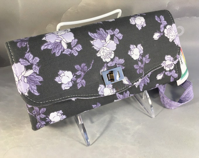 Handmade Lilac and White Roses on Black Clutch/Wallet With Wrist Strap
