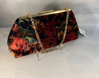 Red Gold & Black Velvet Medium Clutch Bag