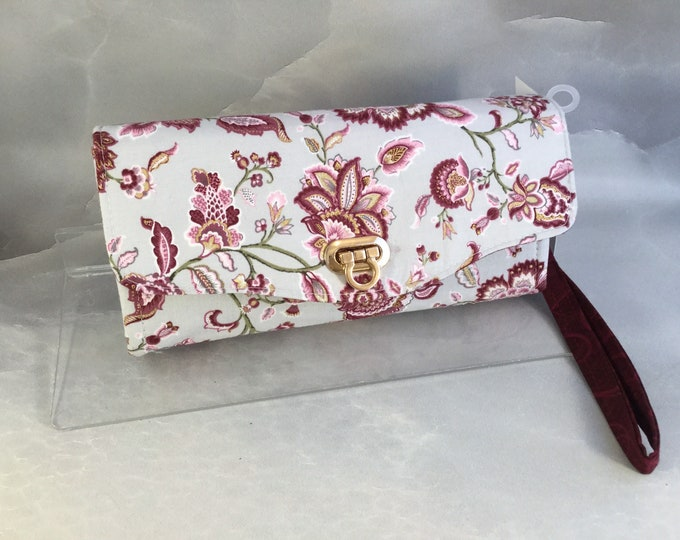 Handcrafted Burgundy and Gold Floral on Gray Floral Clutch/Wallet With Wrist Strap