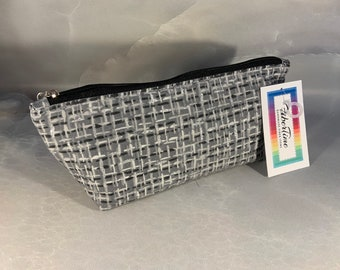 Black/Silver Plaid Triangle Pouch/Make Up Bag