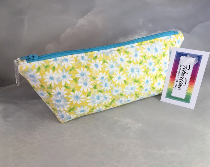 White and Blue Daisies on Yellow Makeup Bag