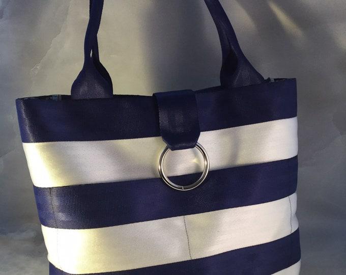 Handmade Medium Blue And White Stripe Seat Belt Bag/Tote