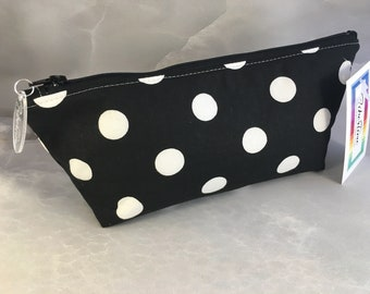 Large White Polka Dots on Black Handcrafted Make Up Bag