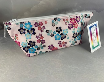 Red Purple & Blue Floral Triangle Pouch/Make Up Bag