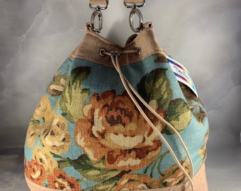 Red Rose on Blue Drawstring Bucket Bag
