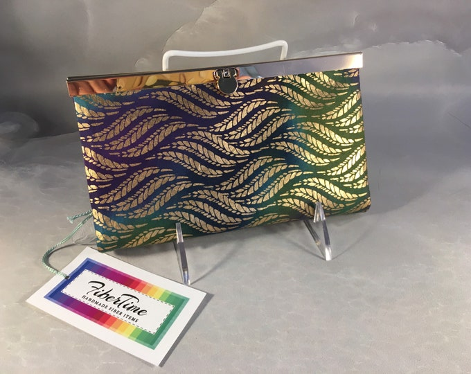 Handmade Gold, Purple, Teal and Green Leaves Diva Wallet