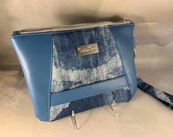 Blue on Blue Cotton/Faux Leather Vegan Wristlet Clutch