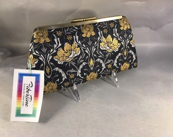 Navy and Gold Floral Medium Clutch Bag